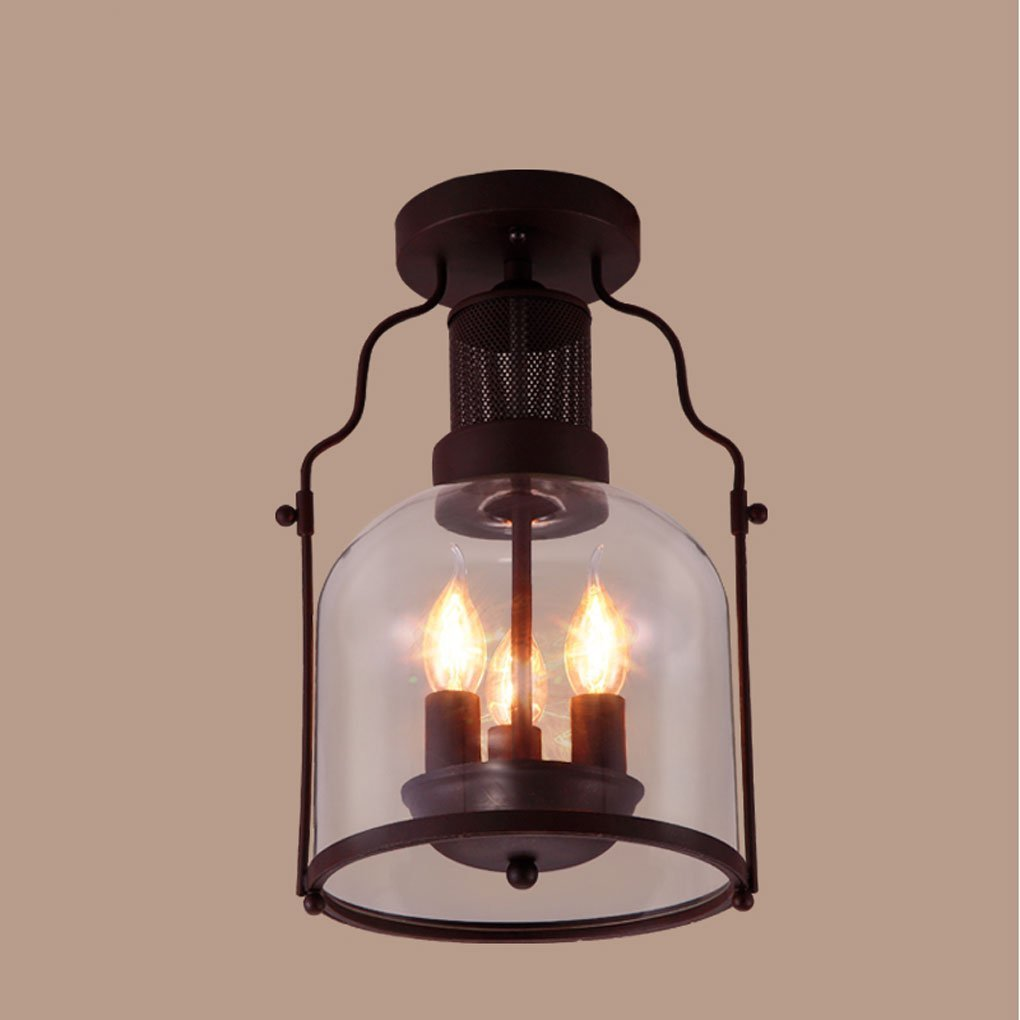 JCRNJSB Ceiling lamps, Retro glass lampshade Ceiling light personality restaurant Bar Creative Iron industry Ceiling light aisle corridor E14 light source LED dimmable Environmental protection