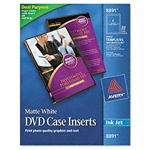 Avery® DVD Case Inserts, Matte White, 20 Inserts