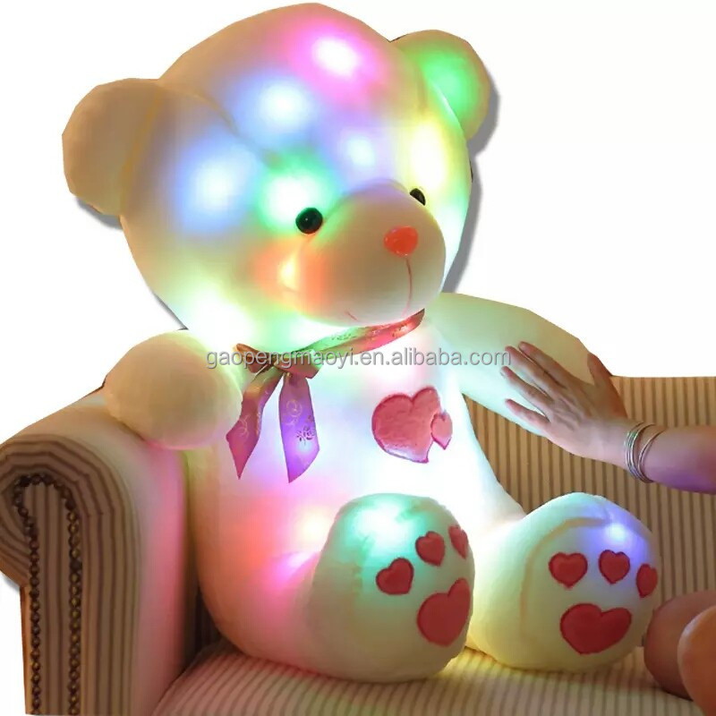 colorful bear shine neon lights Christmas gift music plush toys Teddy Bear