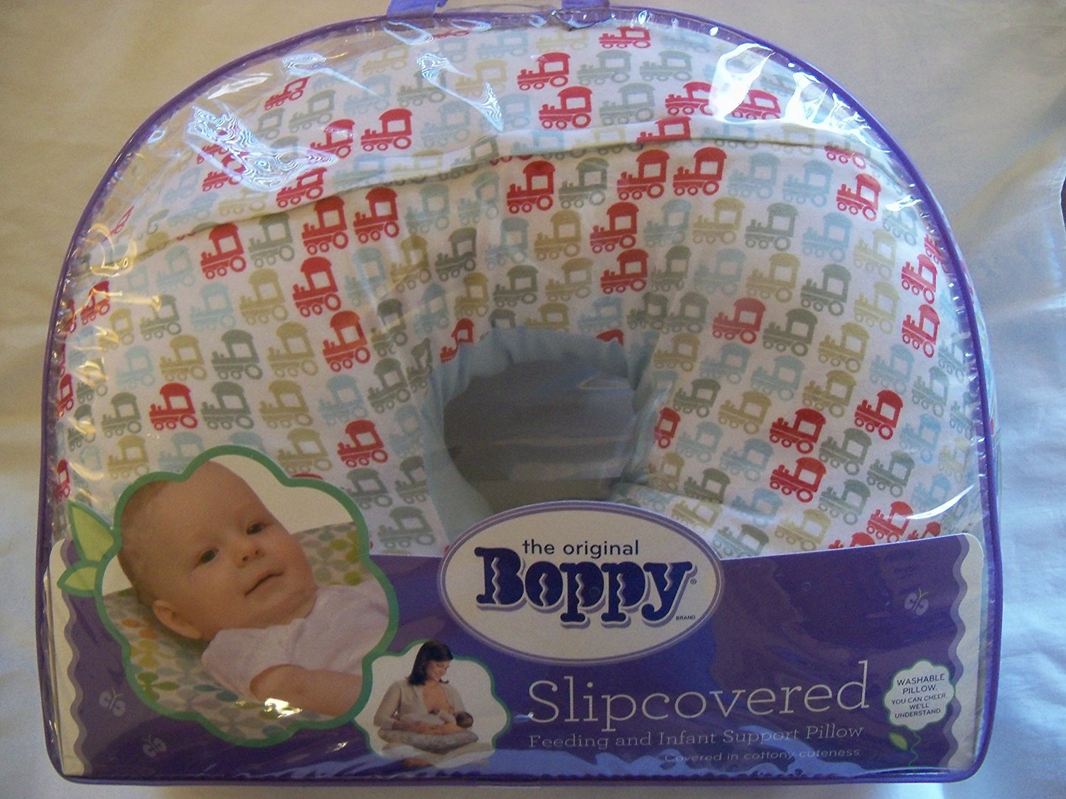 Boppy Slipcovered Feeding and Infant Support Pillow, Choo Choo Trains