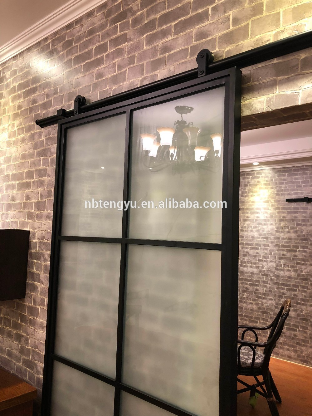 Frosted Glass Interior Door With Black Steel Frame Steel