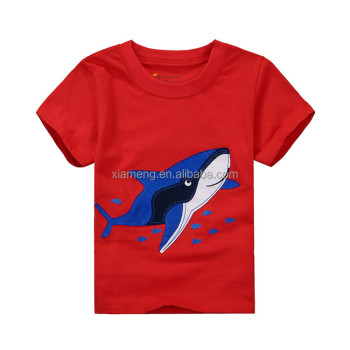 Neues Design rot applizierte Hai Kurzarm Kinder T-Shirts
