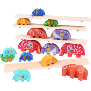wholesale Wooden Balance Baby Toddler Toy Kits animal shape lovely Elephant balance block toy