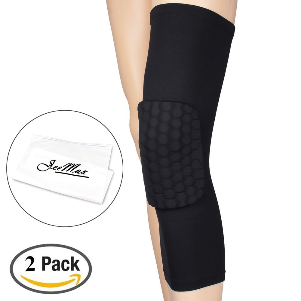 2191b89d8e Get Quotations · 1-Pair Thicken Strengthen Kneepad Honeycomb Sleeves,JeeMax  Knee Support Crashproof Antislip Breathable Basketball