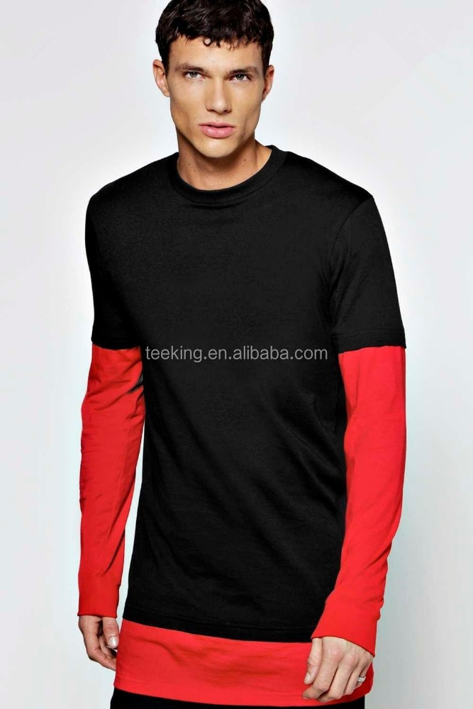 black and red color combination men's t shirt long sleeves t shirt