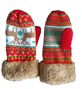 kids winter warmer knitted with sherpa gloves ski gloves
