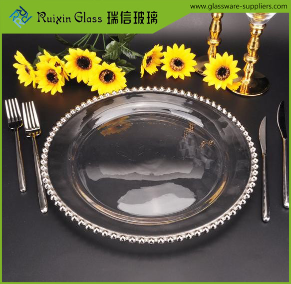 Wholesale wedding Gold Silver Glass beaded Charger <strong>Plate</strong>