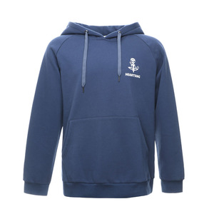 china factory price 100% organic cotton digital printing logo branded 320 gsm blue boys' hoodies with pocket