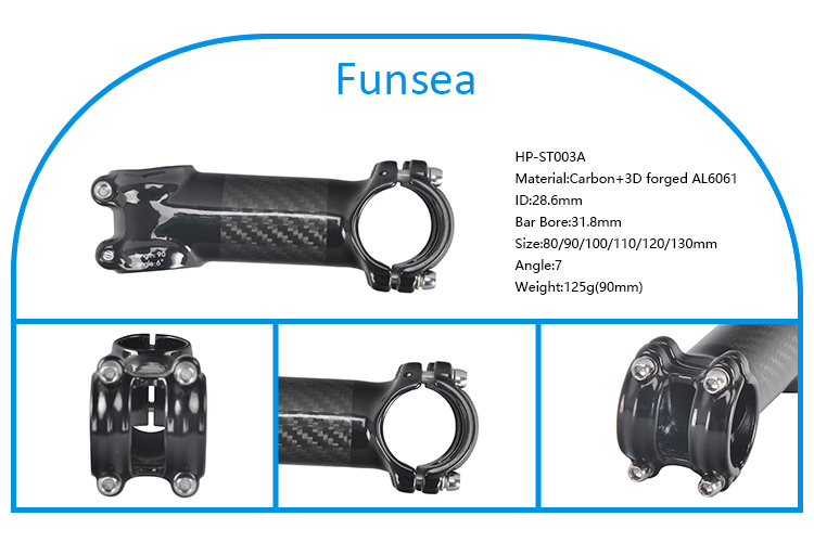 Customized 31.1 - 32.5mm high strength lightweight 3D forged AL6061 and carbon riser bicycle stem for mountain bikes