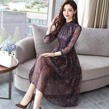 Женское винтажное шифоновое платье миди с цветочным принтом на осень и зиму 2020, элегантные вечерние платья с длинным рукавом и принтом(Китай)
