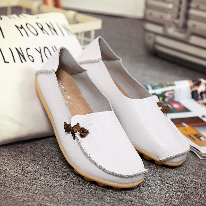 Free Shipping Ladys Genuine Leather Cheap Casual Flat Shoes Manufacturer
