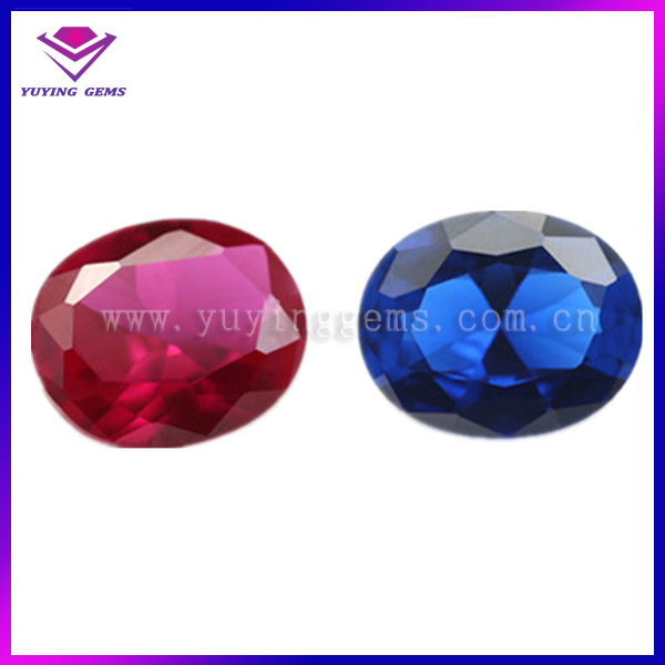 China new fashion oval shape synthetic ruby/sapphire for decoration