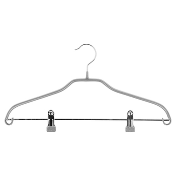 Long Lasting  PVC Coated  Wire Metal Hangers with nonslip metal clips for trousers