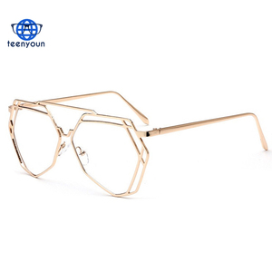 9693664b42f 1641 Women Hexagon Hollow Sexy Clear Glasses Frame Eyewear Sunglasses  Ladies Oversize Polygon Eyeglasses Frames