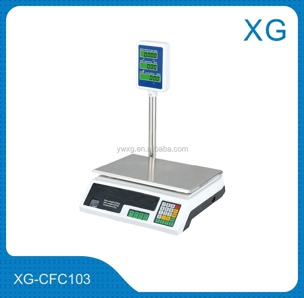 Electronic digital price computing scale/Supermarket barcode printing scale/ACS weighting scale 30kg