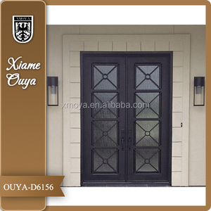 OUYA Square Top Wrought Iron And Glass Door