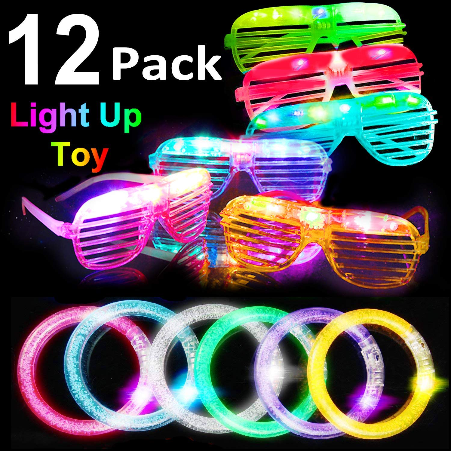 Wei Xi 4 Pack LED Glow Light Up Shades Party Glasses Bulk Glow in the Dark Party Supplies and Party Favors for Adults and Kids Glow Unisex Fashion Party Toy Glasses
