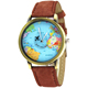 Fashion Unisex Quartz Watches World Map Bracelet Mens Watch PU Leather Cheaper Watches