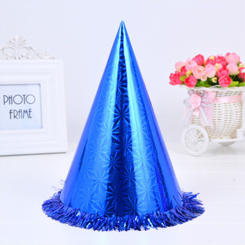 Oempromo 24cm Christmas laser lace/fringe,party cone birthday laser foil paper hat