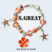 Colorful Crystal European Beads with Red Murano Glass Beads fit pandora Snake Chain Charms Bracelet