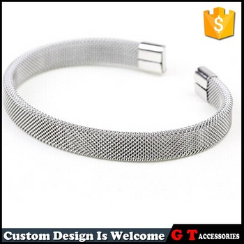 New Design Open Mouth 316 L Stainless Steel Mesh Bracelet For Men Women Silver