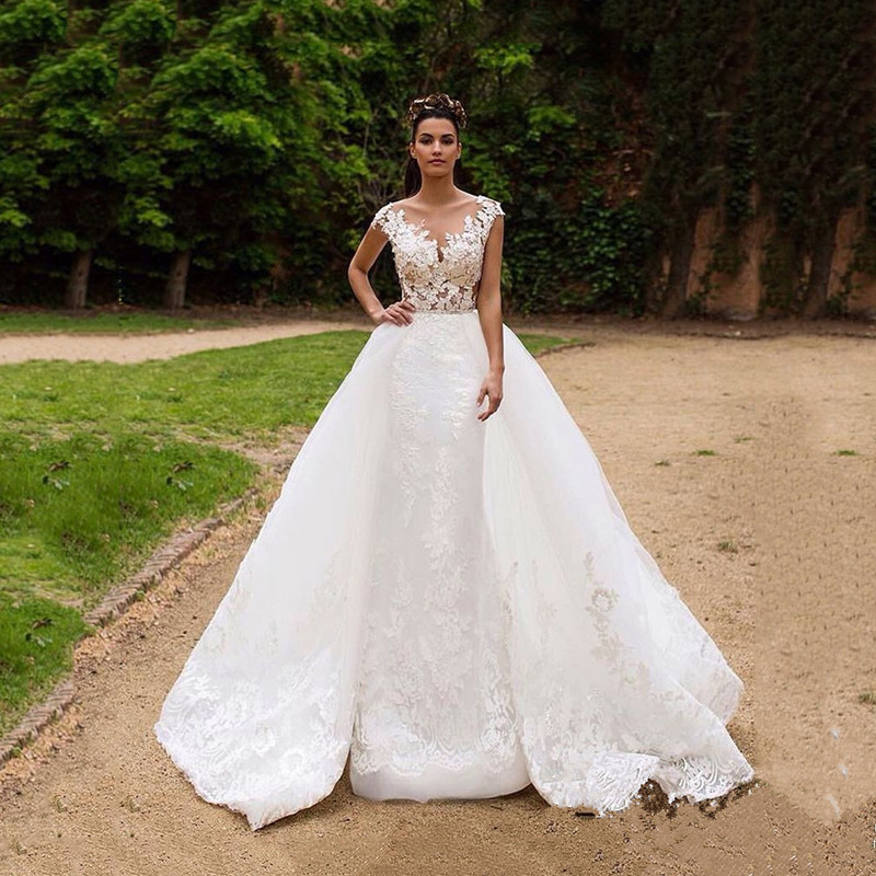 On445 Lace Mermaid Wedding Dresses Backless Bridal Dresses 2016 ...