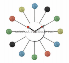 Sun shape wood nature color ball wall clock