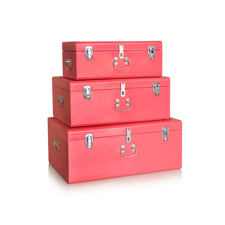 Decorative hot pink home organizer rectangular set of 3 metal trunk suitcase