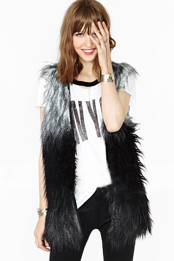 2015 New Fashion Hot Faux Fox Fur Long Style Vest Slim Thin Sleeveless  Splicing Color Waistcoat M L XL