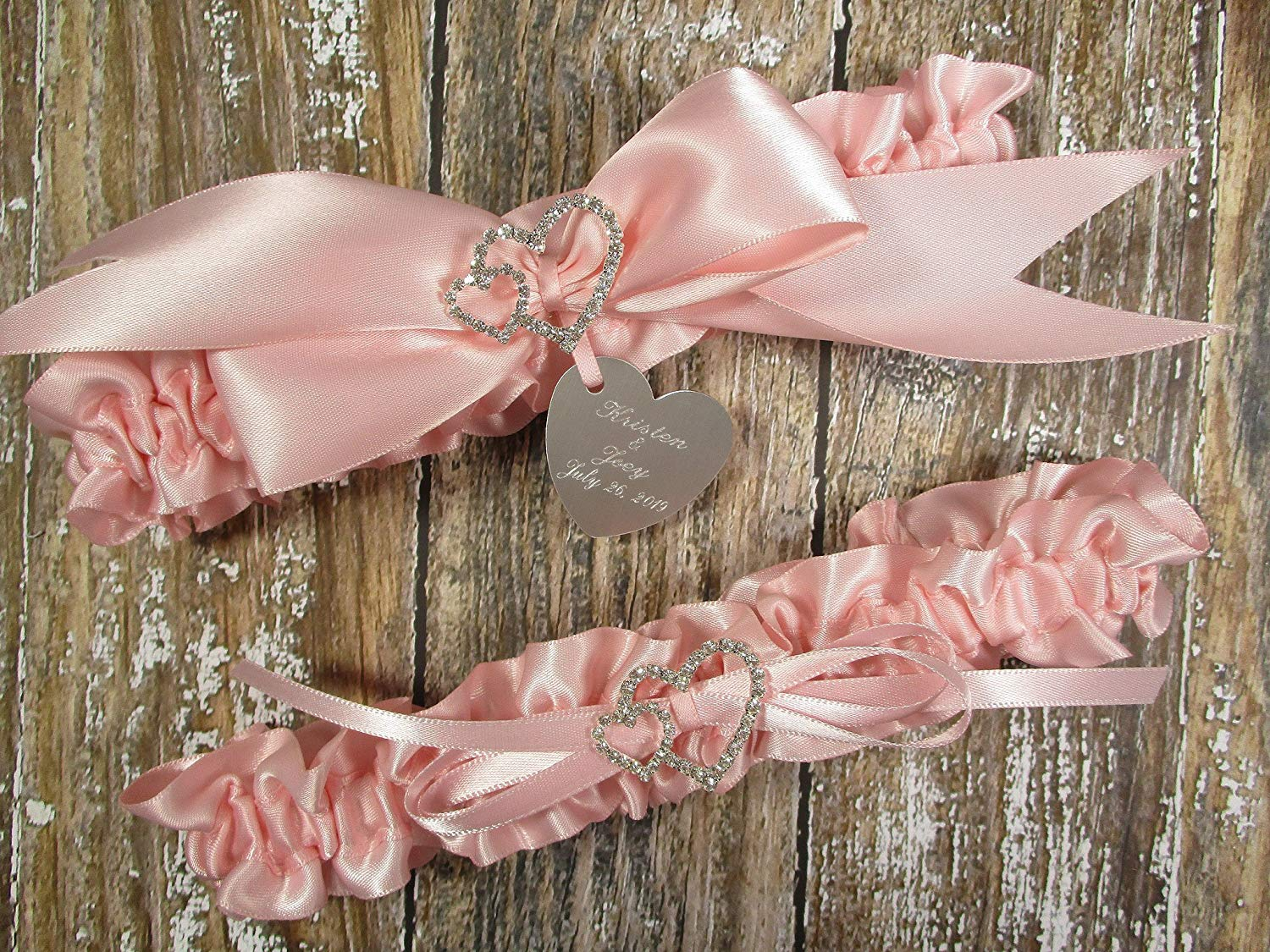 781e0fec54d Get Quotations · Pink Wedding Garter Set with Linked Hearts and  Personalized Engraving