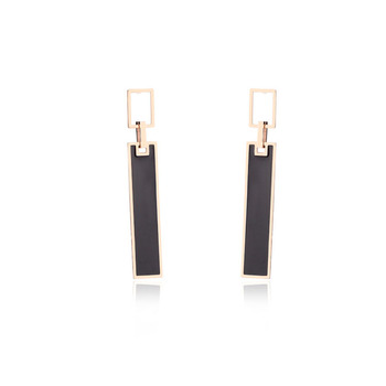Hot Sale Dainty Black Rose Gold Korean Fashion Earrings for Girls