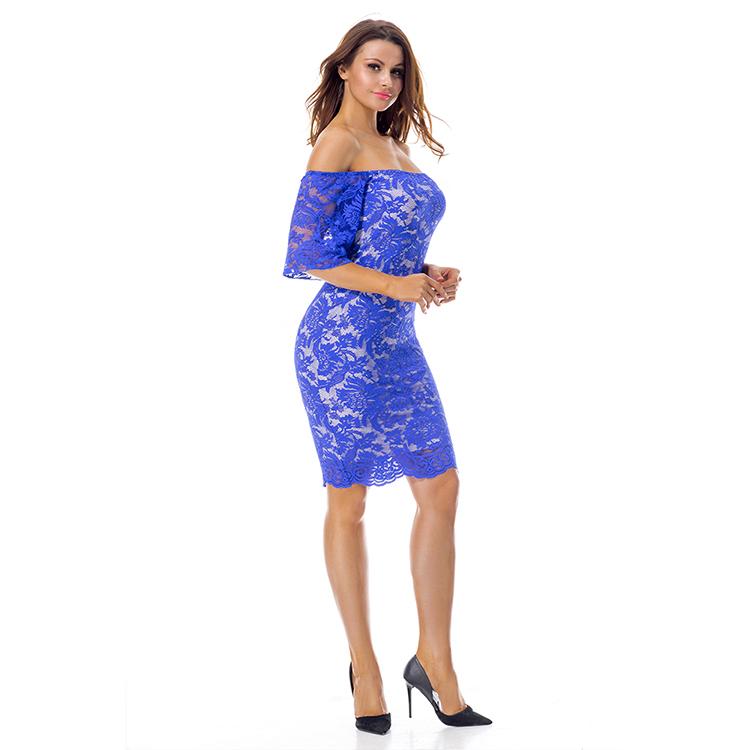 ล่าสุดตะวันตกแบบผู้หญิงลูกไม้สีฟ้าชุดแฟชั่นที่เรียบง่าย