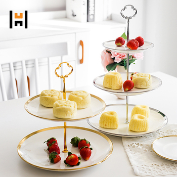 Gold Ceramic Cake Stand Porcelain Cup Cake Stand with Gold Rim for Wedding/ Gift