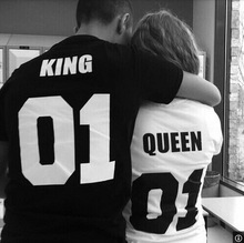 KING QUEEN 01 Funny Letter Print T-Shirt Women Men Sport Tops Hipster Fashion Clothing Summer Style t shirt tees Plus Size