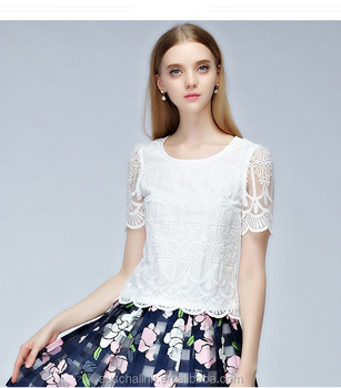 Latest Women White Lace Blouses New Fashion Designs Made In China ...