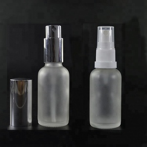 Cosmetic 30ml 50ml 100ml 1oz 2 oz clear frosted boston glass perfume spray bottle with aluminum plastic white cap