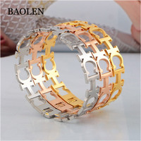 2018 New Latest Style CH Real 18k Gold Plated Stainless Steel Bangle Bracelet Jewelery Dubai Wholesale Market