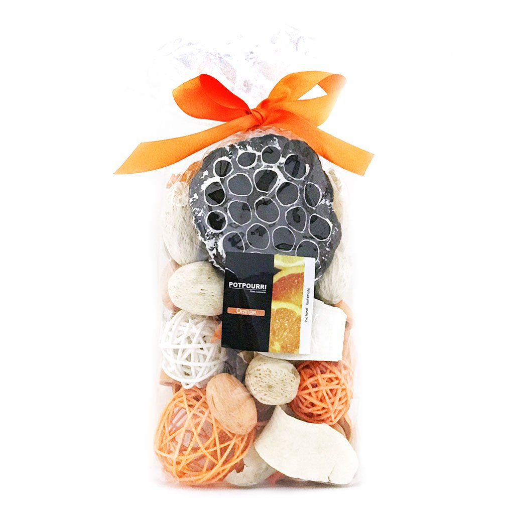 Qingbei Rina Yellow Color Orange Scent Summer Potpourri Dried Flowers,Perfume Sachet, Decorative Bag and Gift - Rattan Balls,Lotus Pods, Pine Cones,Dried Plants And Flowers 9.9OZ