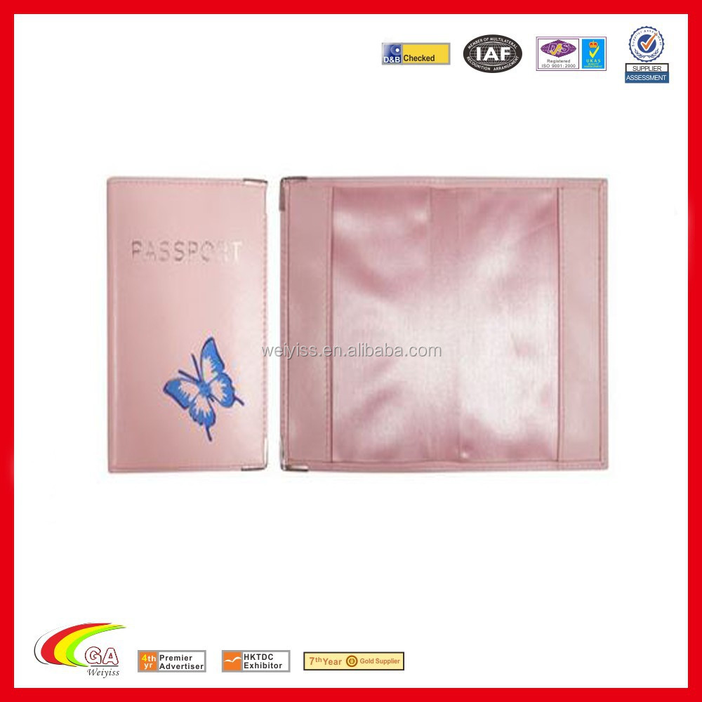 Pink Butterfly PVC Passport Holder With Metal Corner/Passport Cover Silkscreen Logo