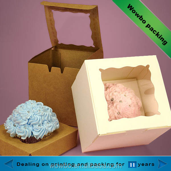 Wholesale custom Kraft Paper Bakery Cake Cookies packing Cake Box with PVC window