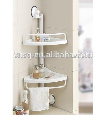 Tag re de coin salle de bain avec ventouse plastique for Etagere de coin salle de bain