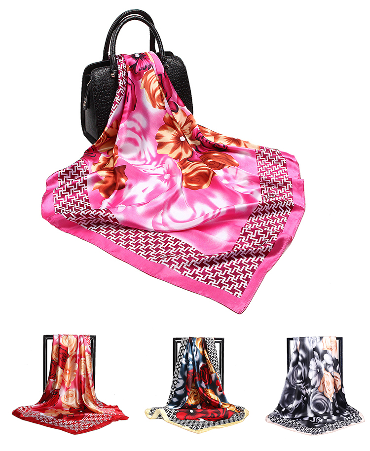 HC-YH003 low price stock women roses printed scarf for girls and lady 90*90cm