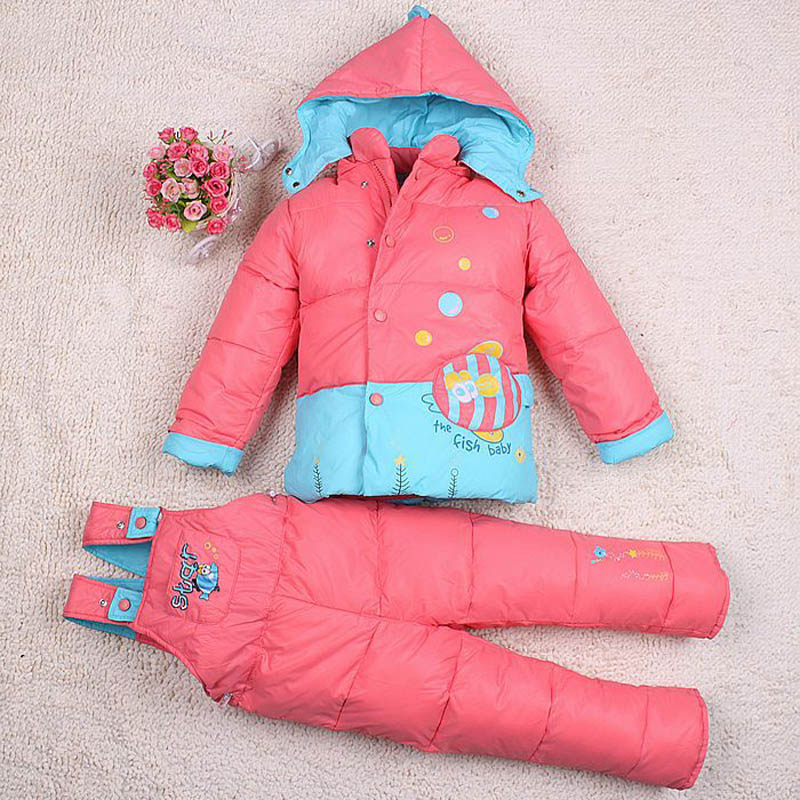 Free Shipping 1 3y Down Jacket for Girl Baby snowsuit Boys Winter Coat Kids Clothing Set