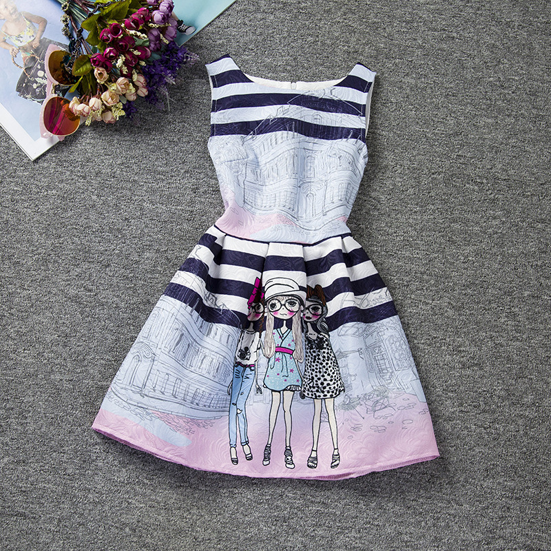 becd9bbff Baby Girl Party Dress Children Frocks Designs Kids Printing Dress ...