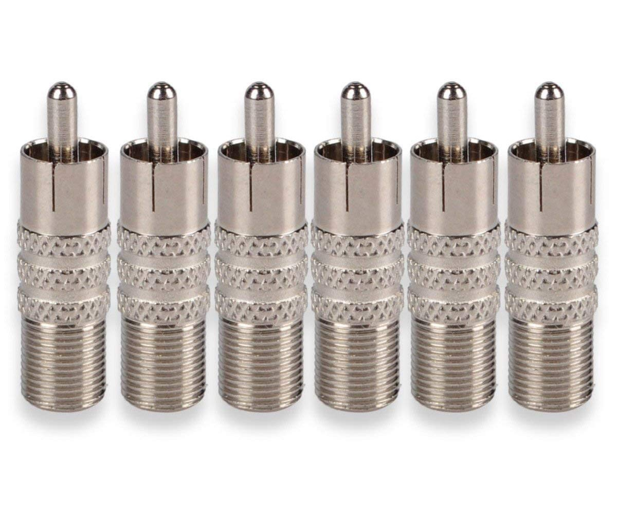 Besmelody 6-Pack F-Type Female to RCA Male Coax Coaxial Cable Audio Adapter Connector