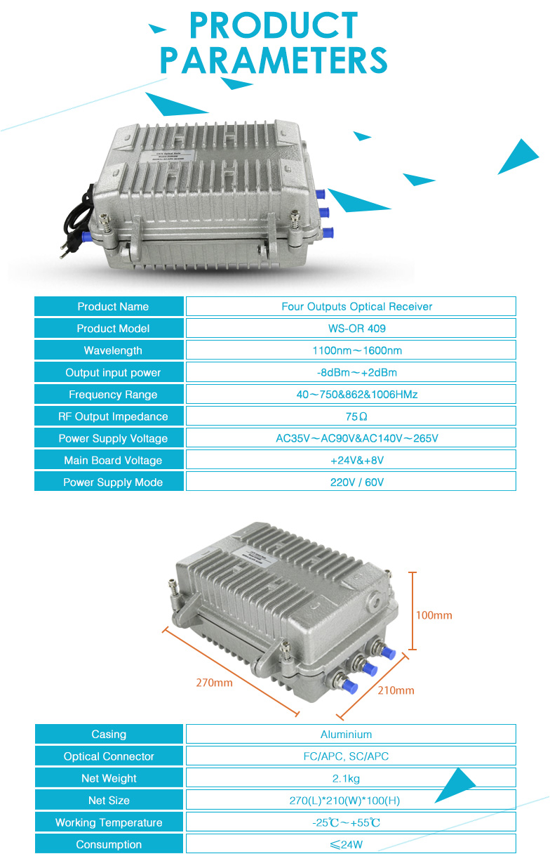 Wsee AC220V AGC Outdoor CATV 4 Output Optik Node