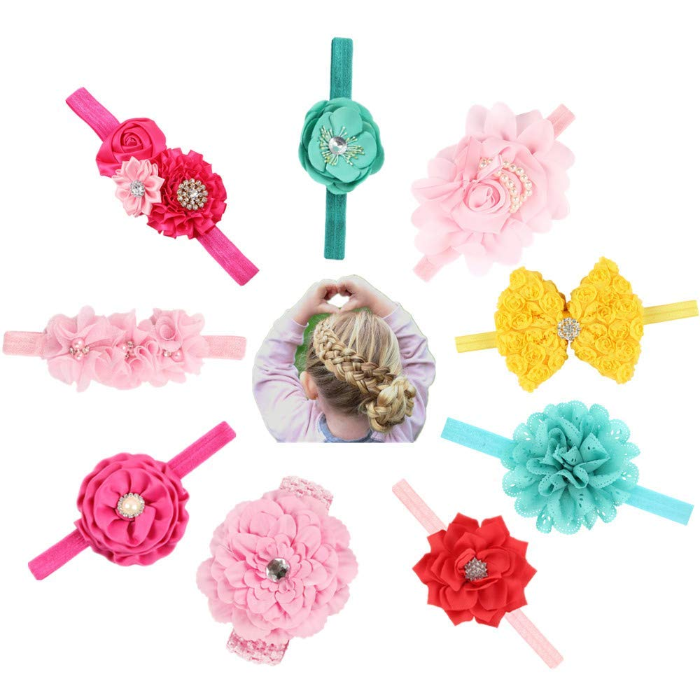 6d3d6d767c0 Zhiheng 9pcs Baby Girl s Beautiful Headbands and Bows Elastic Hairband for Photograph  Newborn Infant Toddler Hair