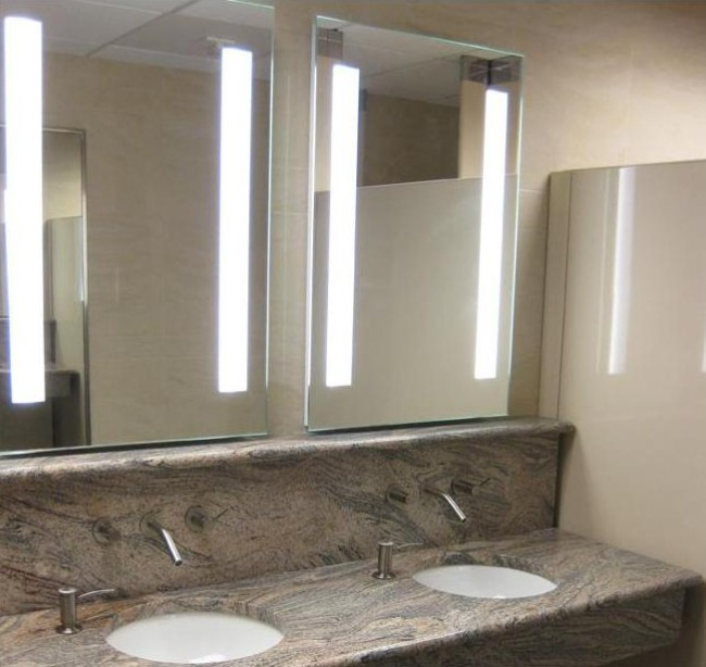Fluorescent hotel LED backlit bathroom mirrors with mirror defogger