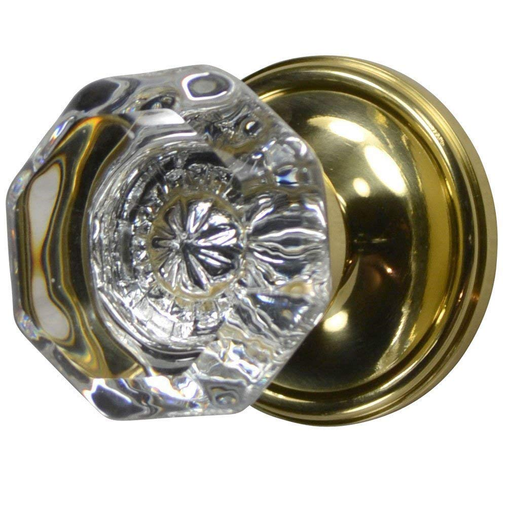 Providence Crystal Octagon Door Knob Set with Victorian Plate Rosette in Polished Brass (Passage Hall/Closet)
