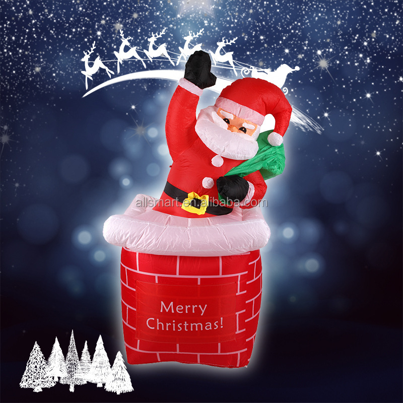 Outdoor Decoration 1.8m Christmas Inflatable Santa Claus Climbing Chimney - Outdoor Decoration 1.8m Christmas Inflatable Santa Claus Climbing